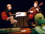 That's me on the right, playing Segovia's Ramirez at a masterclass conducted by Christopher Parkening (left)